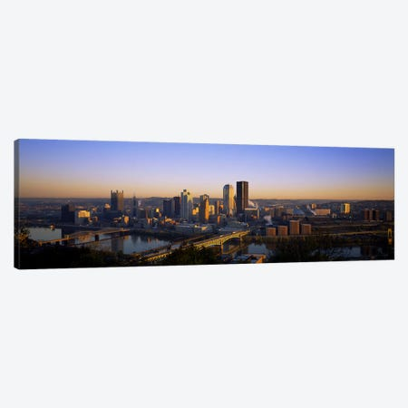 Buildings in a city at dawnPittsburgh, Pennsylvania, USA Canvas Print #PIM5971} by Panoramic Images Canvas Art