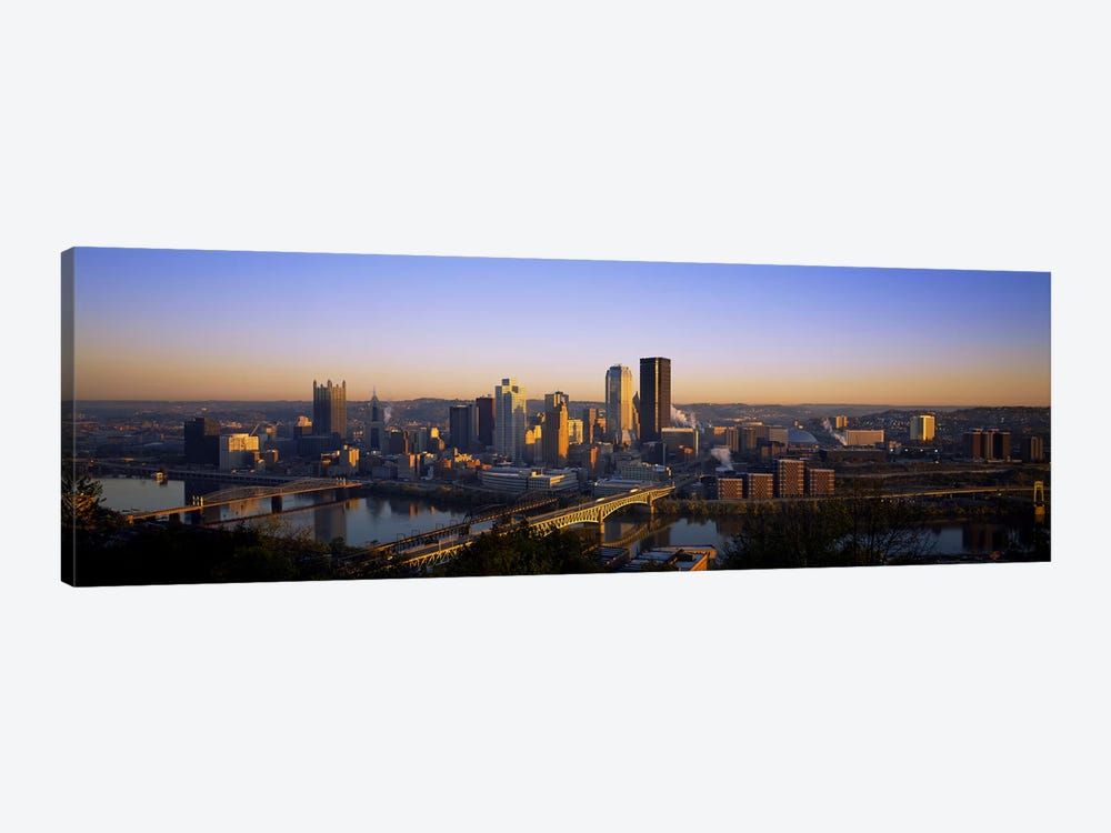 Buildings in a city at dawnPittsburgh, Pennsylvania, USA 1-piece Canvas Art