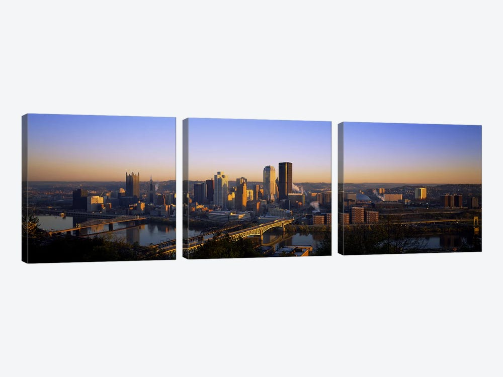 Buildings in a city at dawnPittsburgh, Pennsylvania, USA 3-piece Canvas Artwork