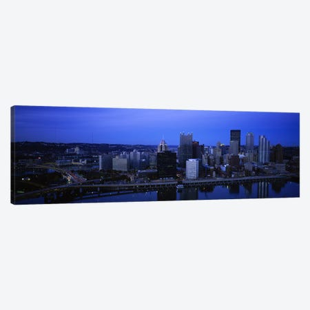 Buildings in a city at duskMonongahela River, Pittsburgh, Pennsylvania, USA Canvas Print #PIM5972} by Panoramic Images Canvas Artwork
