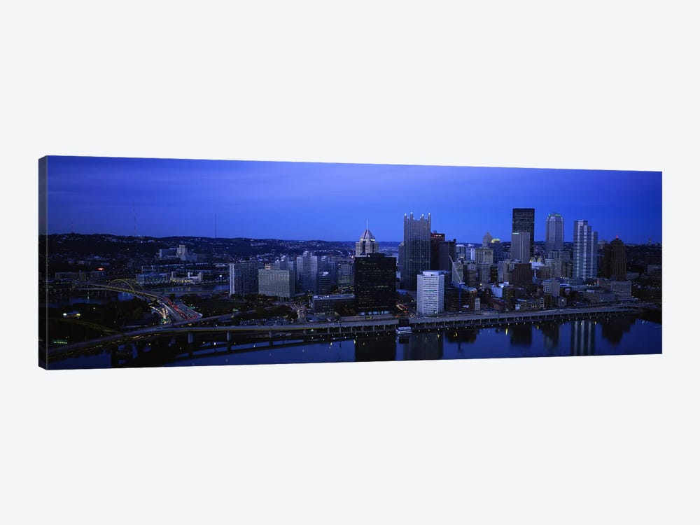 Buildings in a city at duskMonongahela River, Pittsburgh, Pennsylvania, USA by Panoramic Images 1-piece Canvas Print