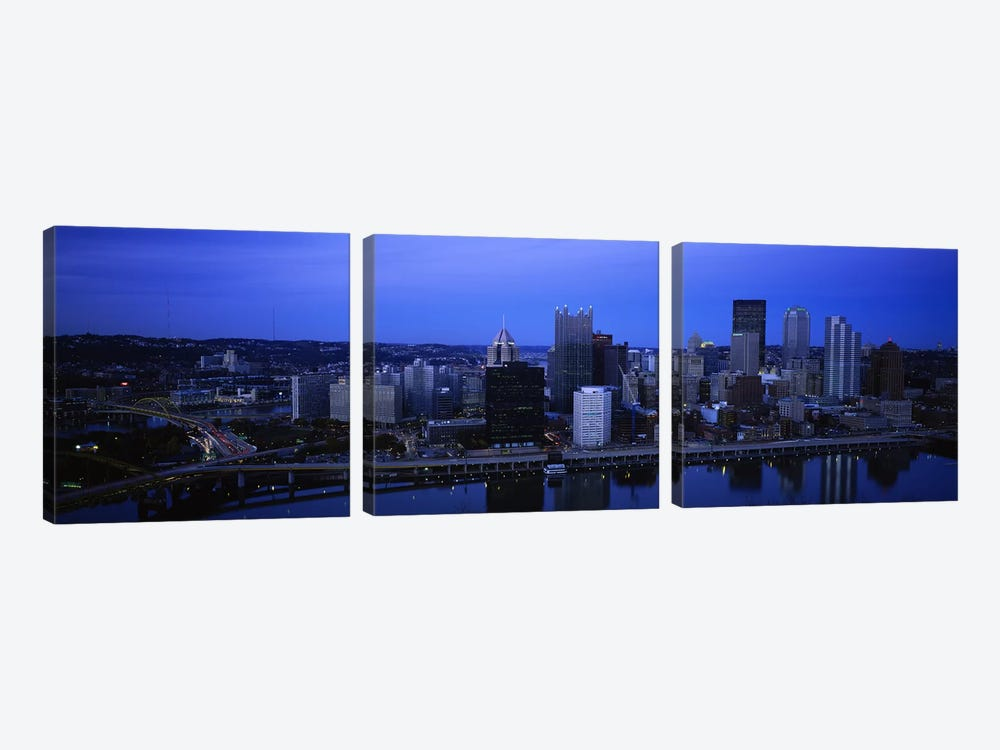 Buildings in a city at duskMonongahela River, Pittsburgh, Pennsylvania, USA by Panoramic Images 3-piece Art Print