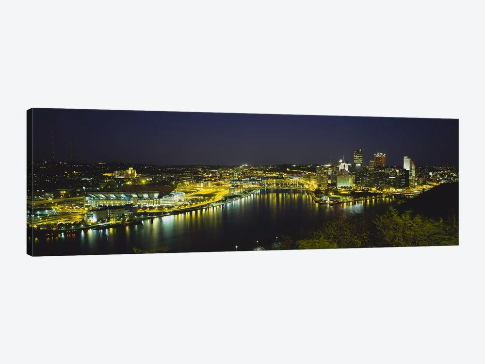 High angle view of buildings lit up at nightThree Rivers Area, Pittsburgh, Pennsylvania, USA by Panoramic Images 1-piece Canvas Artwork