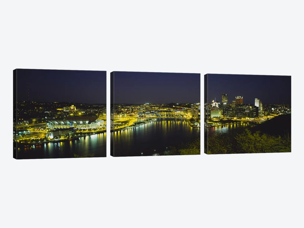 High angle view of buildings lit up at nightThree Rivers Area, Pittsburgh, Pennsylvania, USA by Panoramic Images 3-piece Canvas Art