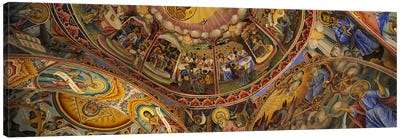 Low angle view of fresco on the ceiling of a monasteryRila Monastery, Bulgaria Canvas Print #PIM5980
