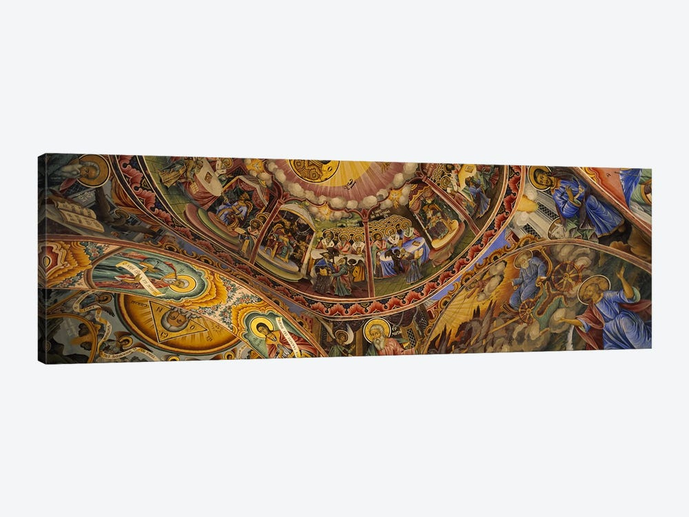 Low angle view of fresco on the ceiling of a monasteryRila Monastery, Bulgaria by Panoramic Images 1-piece Canvas Artwork