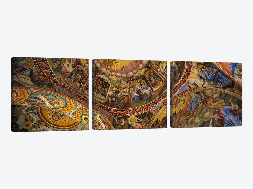 Low angle view of fresco on the ceiling of a monasteryRila Monastery, Bulgaria by Panoramic Images 3-piece Canvas Art