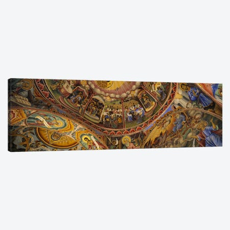 Low angle view of fresco on the ceiling of a monasteryRila Monastery, Bulgaria Canvas Print #PIM5980} by Panoramic Images Art Print