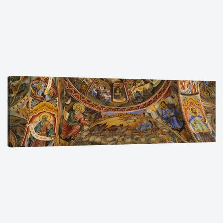 Low angle view of fresco on the ceiling of a monasteryRila Monastery, Bulgaria Canvas Print #PIM5981} by Panoramic Images Art Print