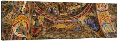 Low angle view of fresco on the ceiling of a monasteryRila Monastery, Bulgaria Canvas Print #PIM5981