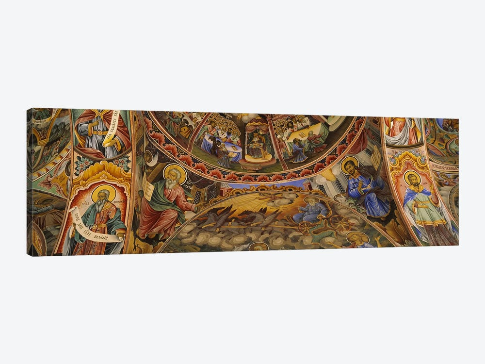 Low angle view of fresco on the ceiling of a monasteryRila Monastery, Bulgaria by Panoramic Images 1-piece Canvas Print