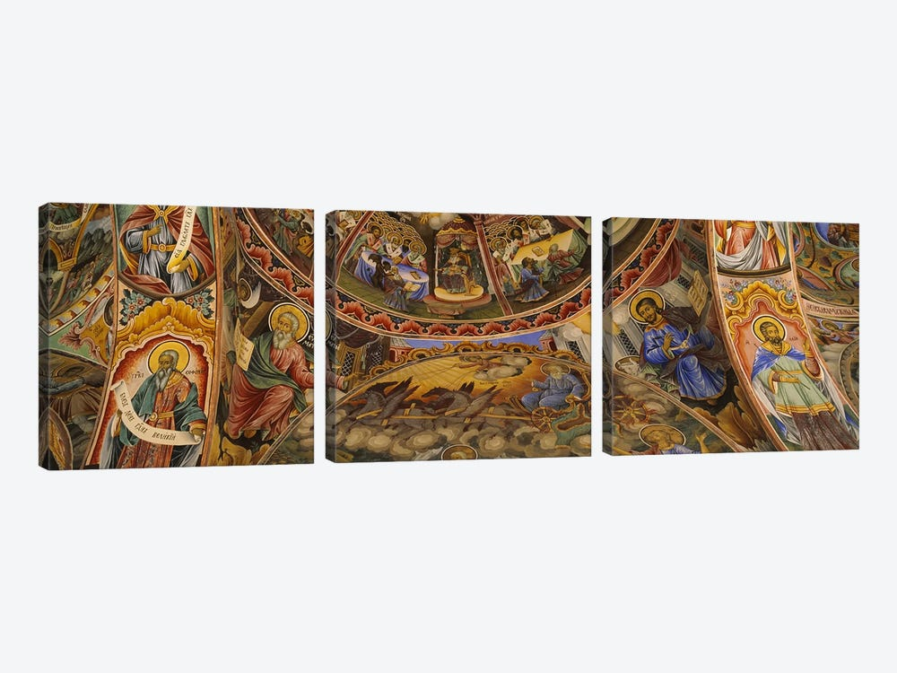 Low angle view of fresco on the ceiling of a monasteryRila Monastery, Bulgaria by Panoramic Images 3-piece Art Print