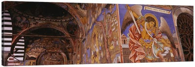 Low angle view of fresco on the walls of a monastery, Rila Monastery, Bulgaria Canvas Print #PIM5982