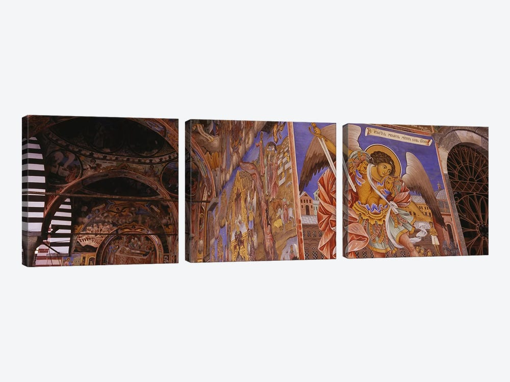 Low angle view of fresco on the walls of a monastery, Rila Monastery, Bulgaria by Panoramic Images 3-piece Canvas Wall Art