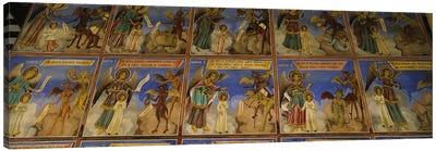 Low angle view of fresco on the walls of a monastery, Rila Monastery, Bulgaria #2 Canvas Print #PIM5983