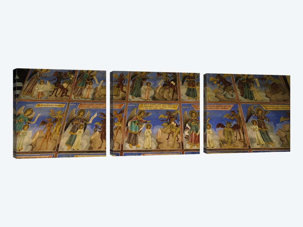 Low angle view of fresco on the walls of a monastery, Rila Monastery, Bulgaria #2 by Panoramic Images 3-piece Canvas Print