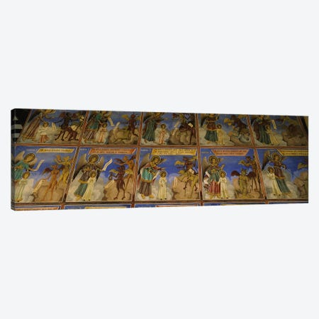 Low angle view of fresco on the walls of a monastery, Rila Monastery, Bulgaria #2 Canvas Print #PIM5983} by Panoramic Images Canvas Art Print