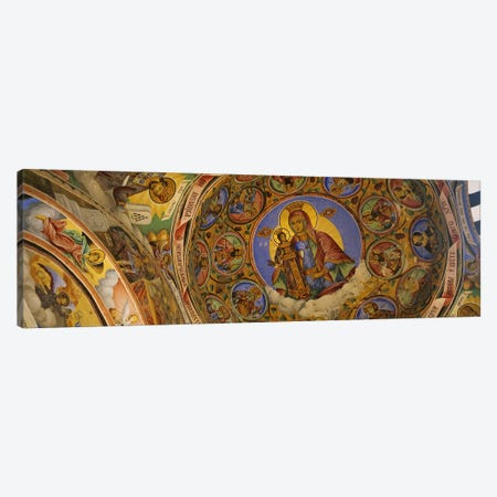 Low angle view of fresco on the ceiling of a monastery, Rila Monastery, Bulgaria Canvas Print #PIM5985} by Panoramic Images Canvas Wall Art
