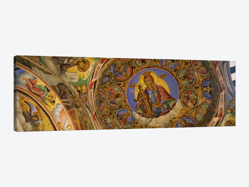 Low angle view of fresco on the ceiling of a monastery, Rila Monastery, Bulgaria by Panoramic Images 1-piece Canvas Art Print