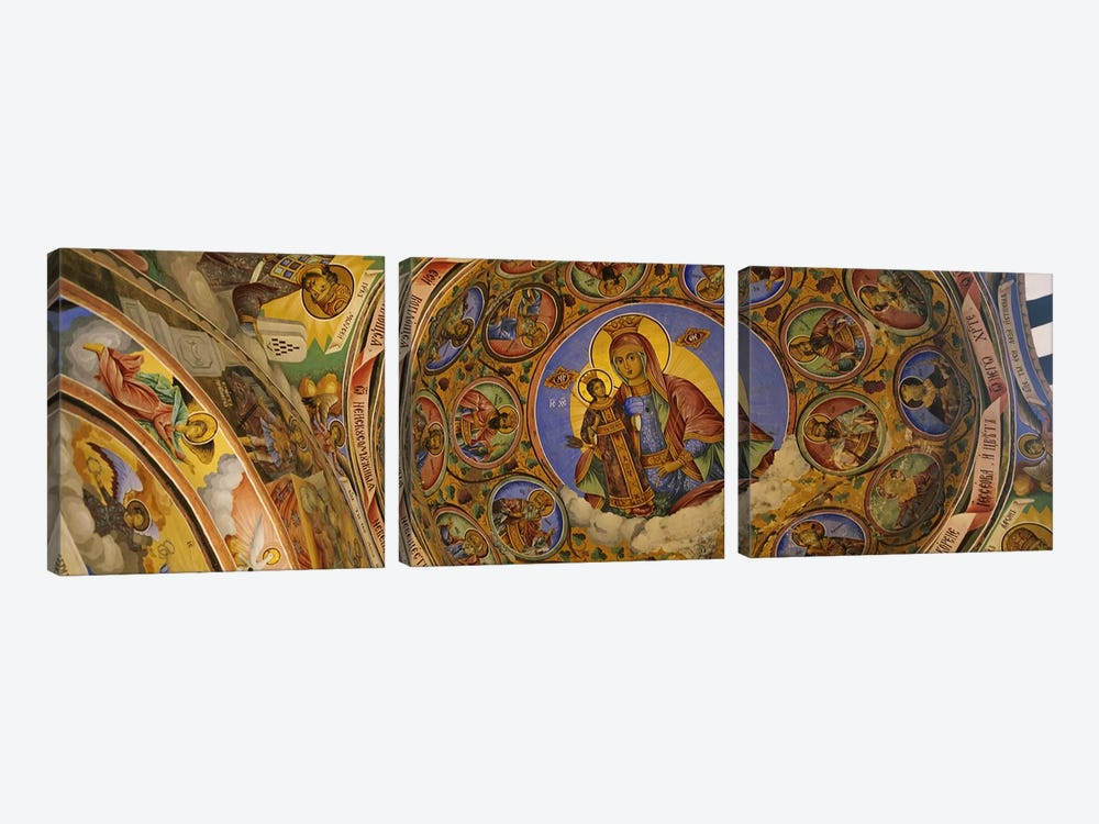 Low angle view of fresco on the ceiling of a monastery, Rila Monastery, Bulgaria by Panoramic Images 3-piece Canvas Print