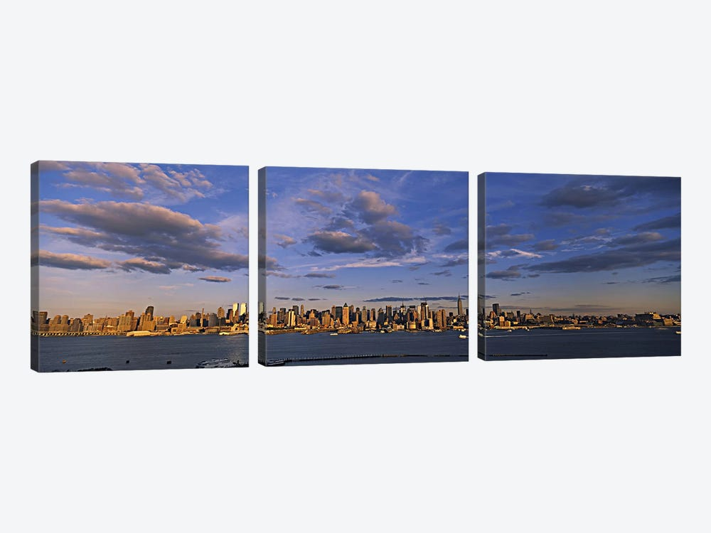 Skyscrapers at the waterfront, Manhattan, New York City, New York State, USA by Panoramic Images 3-piece Canvas Artwork