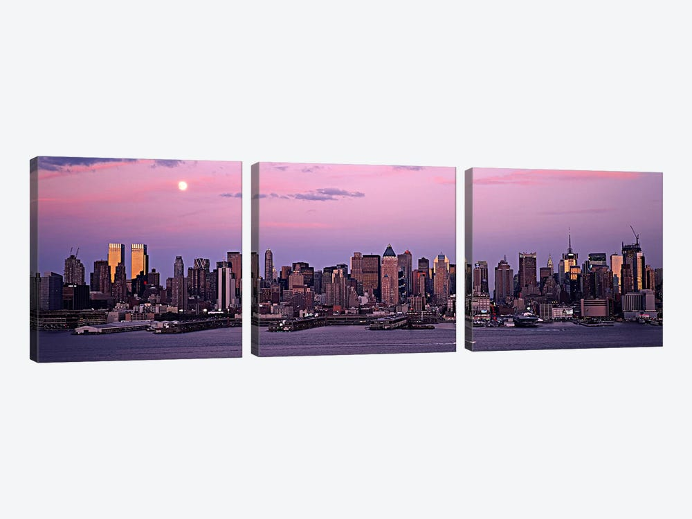 Skyscrapers at the waterfront, Manhattan, New York City, New York State, USA #2 by Panoramic Images 3-piece Canvas Print