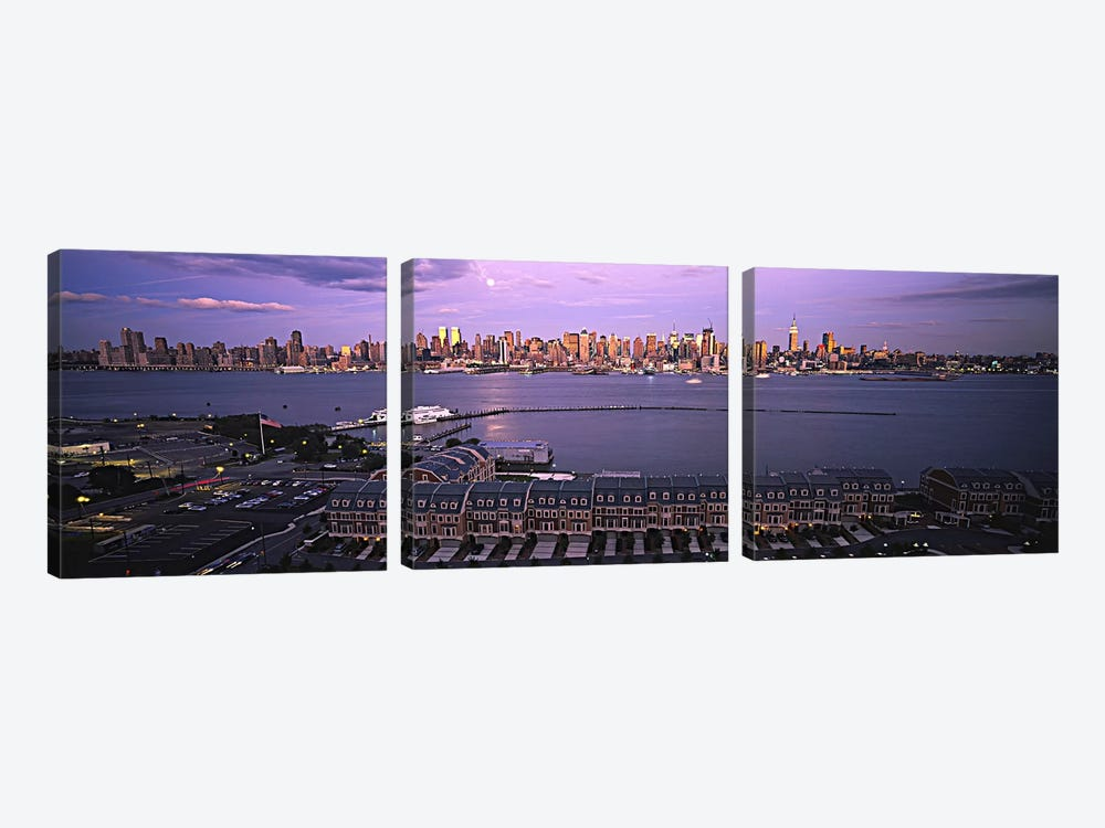 Skyscrapers at the waterfront, Manhattan, New York City, New York State, USA #3 by Panoramic Images 3-piece Art Print