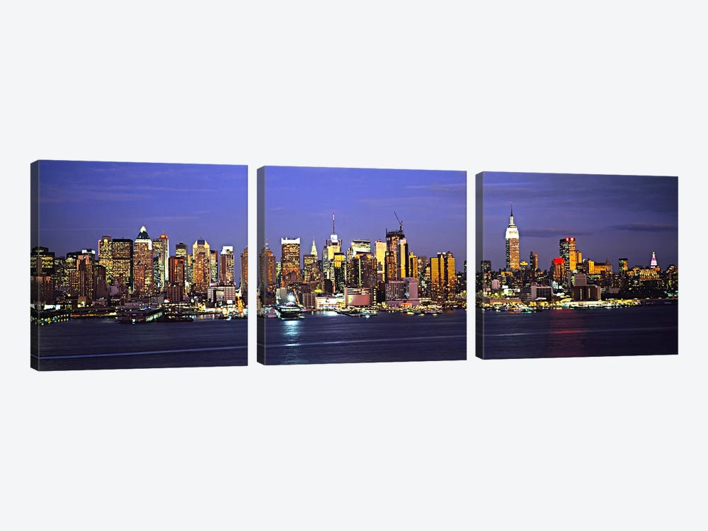 Illuminated Skyline, Manhattan, New York City, New York, USA by Panoramic Images 3-piece Canvas Wall Art