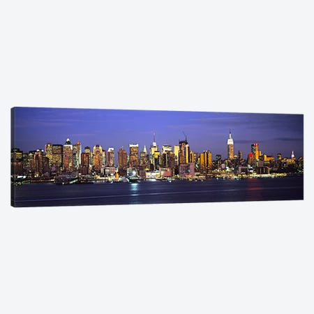 Illuminated Skyline, Manhattan, New York City, New York, USA 3-Piece Canvas #PIM5991} by Panoramic Images Canvas Art