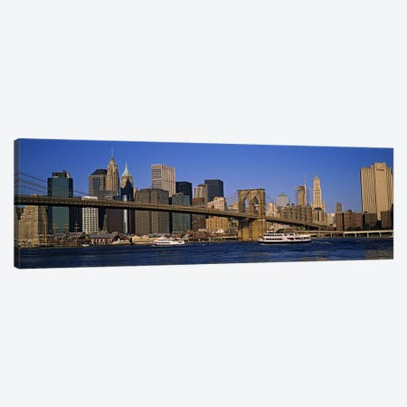 Brooklyn Bridge With Lower Manhattan' Skyline In The Background, New York City, New York, USA Canvas Print #PIM5992} by Panoramic Images Canvas Wall Art