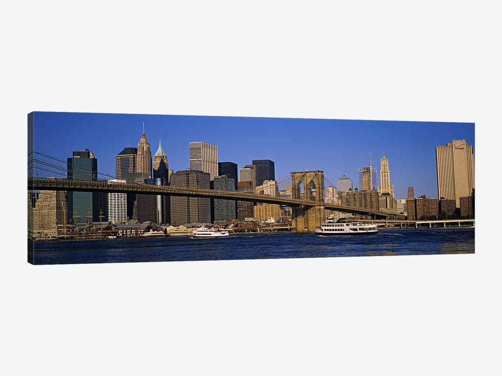 Brooklyn Bridge With Lower Manhattan' Skyline In The Background, New York City, New York, USA by Panoramic Images 1-piece Art Print