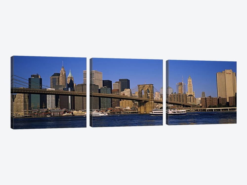 Brooklyn Bridge With Lower Manhattan' Skyline In The Background, New York City, New York, USA by Panoramic Images 3-piece Canvas Print