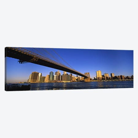 Brooklyn Bridge Splitting The Lower Manhattan Skyline View, New York City, New York, USA Canvas Print #PIM5993} by Panoramic Images Canvas Art