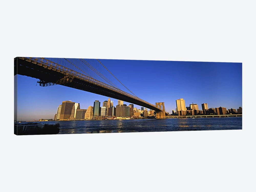 Brooklyn Bridge Splitting The Lower Manhattan Skyline View, New York City, New York, USA by Panoramic Images 1-piece Canvas Artwork