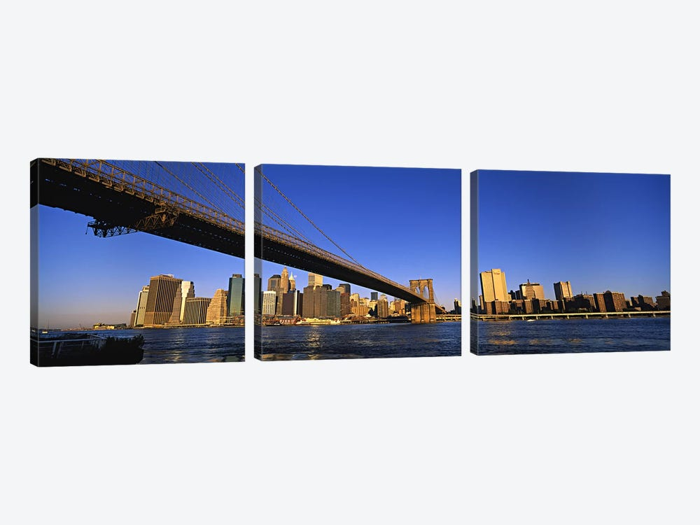 Brooklyn Bridge Splitting The Lower Manhattan Skyline View, New York City, New York, USA by Panoramic Images 3-piece Canvas Wall Art