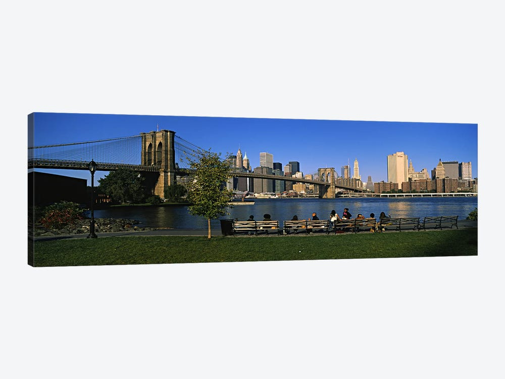 Lower Manhattan And The Brooklyn Bridge As Seen From Brooklyn Bridge Park, New York City, New York, USA by Panoramic Images 1-piece Art Print