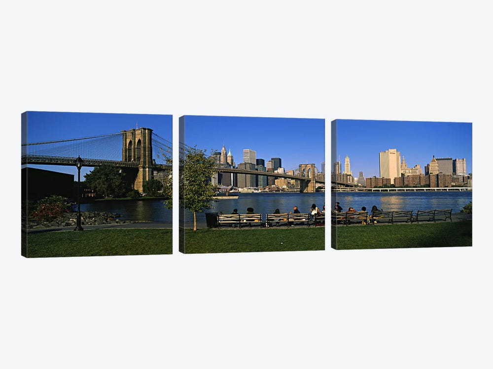 Lower Manhattan And The Brooklyn Bridge As Seen From Brooklyn Bridge Park, New York City, New York, USA by Panoramic Images 3-piece Art Print