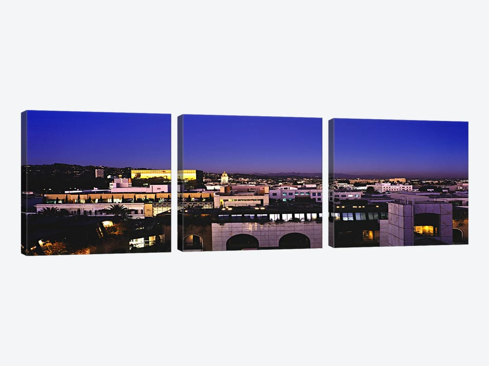 High angle view of a cityscape with mountains in the background, Griffith Park Observatory, San Gabriel Mountains, Hollywood Hil by Panoramic Images 3-piece Canvas Art