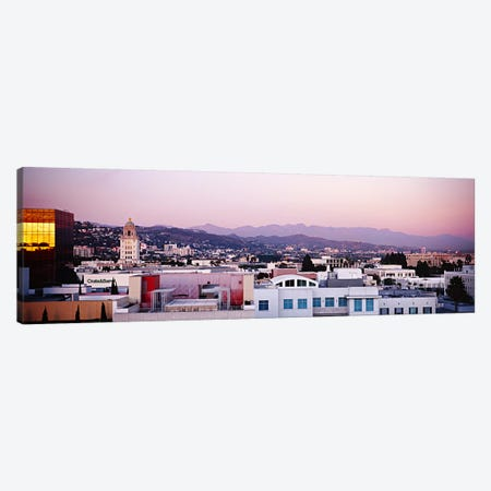 High angle view of a cityscape, San Gabriel Mountains, Hollywood Hills, Hollywood, City of Los Angeles, California, USA Canvas Print #PIM5998} by Panoramic Images Canvas Wall Art