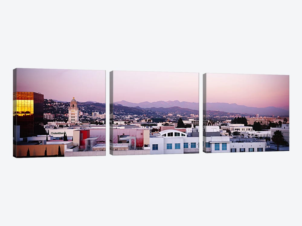 High angle view of a cityscape, San Gabriel Mountains, Hollywood Hills, Hollywood, City of Los Angeles, California, USA by Panoramic Images 3-piece Art Print