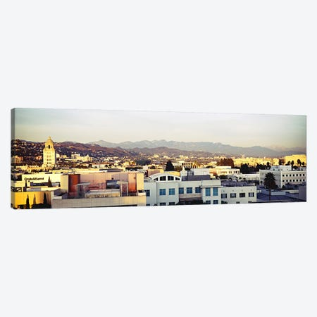 High angle view of a cityscape, San Gabriel Mountains, Hollywood Hills, Hollywood, City of Los Angeles, California, USA #3 Canvas Print #PIM5999} by Panoramic Images Canvas Wall Art
