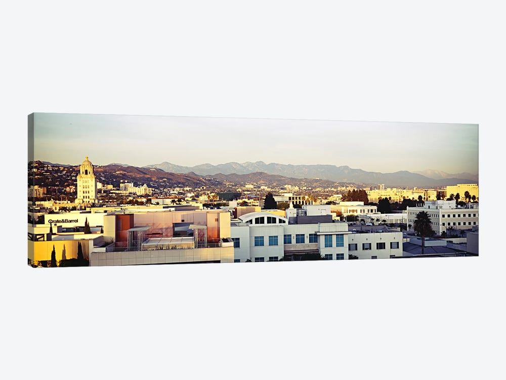 High angle view of a cityscape, San Gabriel Mountains, Hollywood Hills, Hollywood, City of Los Angeles, California, USA #3 by Panoramic Images 1-piece Canvas Artwork
