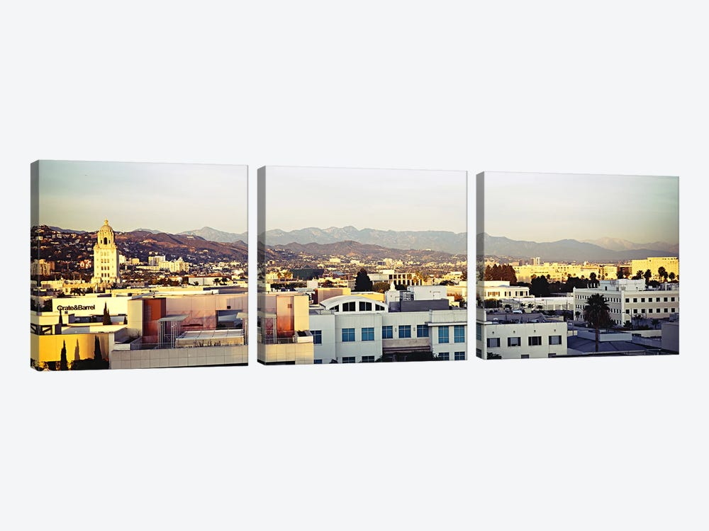 High angle view of a cityscape, San Gabriel Mountains, Hollywood Hills, Hollywood, City of Los Angeles, California, USA #3 by Panoramic Images 3-piece Canvas Wall Art