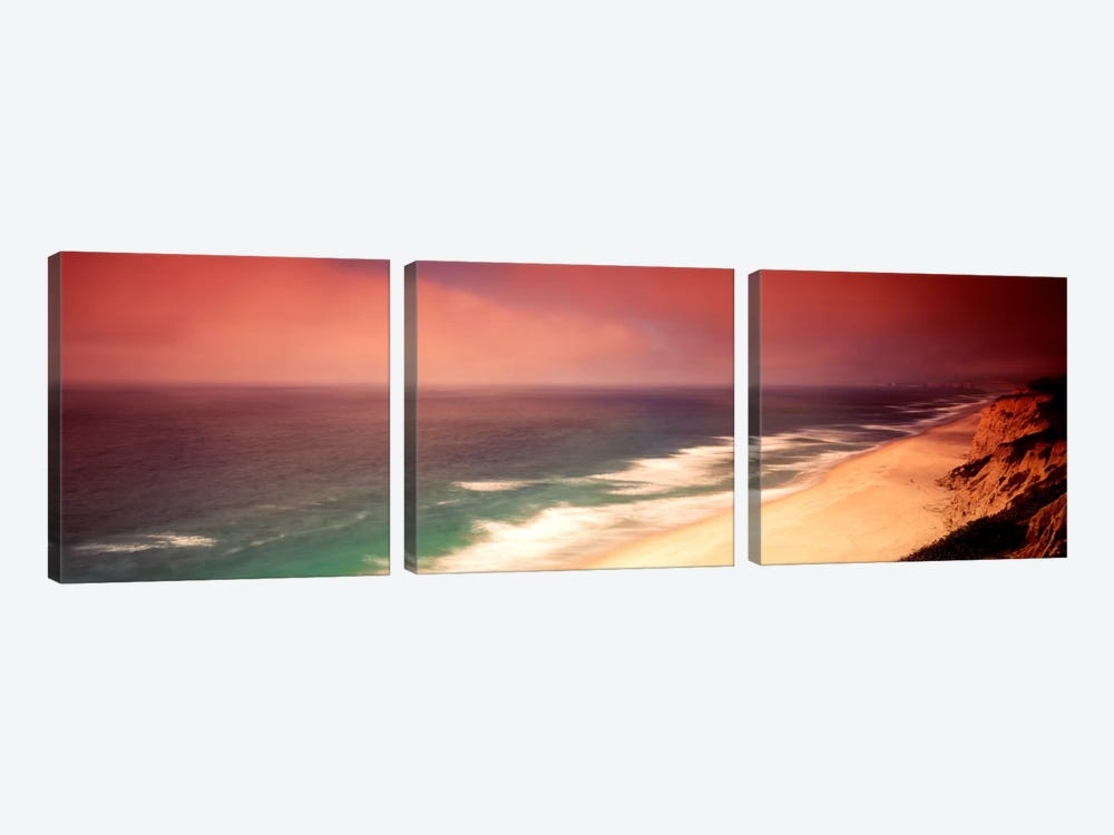 Overcast Coastal Landscape, San Mateo County, California, USA by Panoramic Images 3-piece Canvas Art