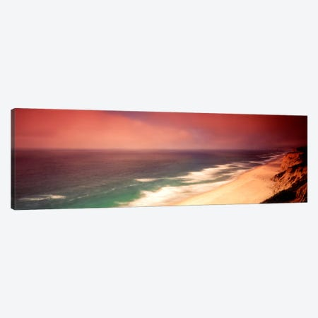 Overcast Coastal Landscape, San Mateo County, California, USA 3-Piece Canvas #PIM599} by Panoramic Images Canvas Wall Art