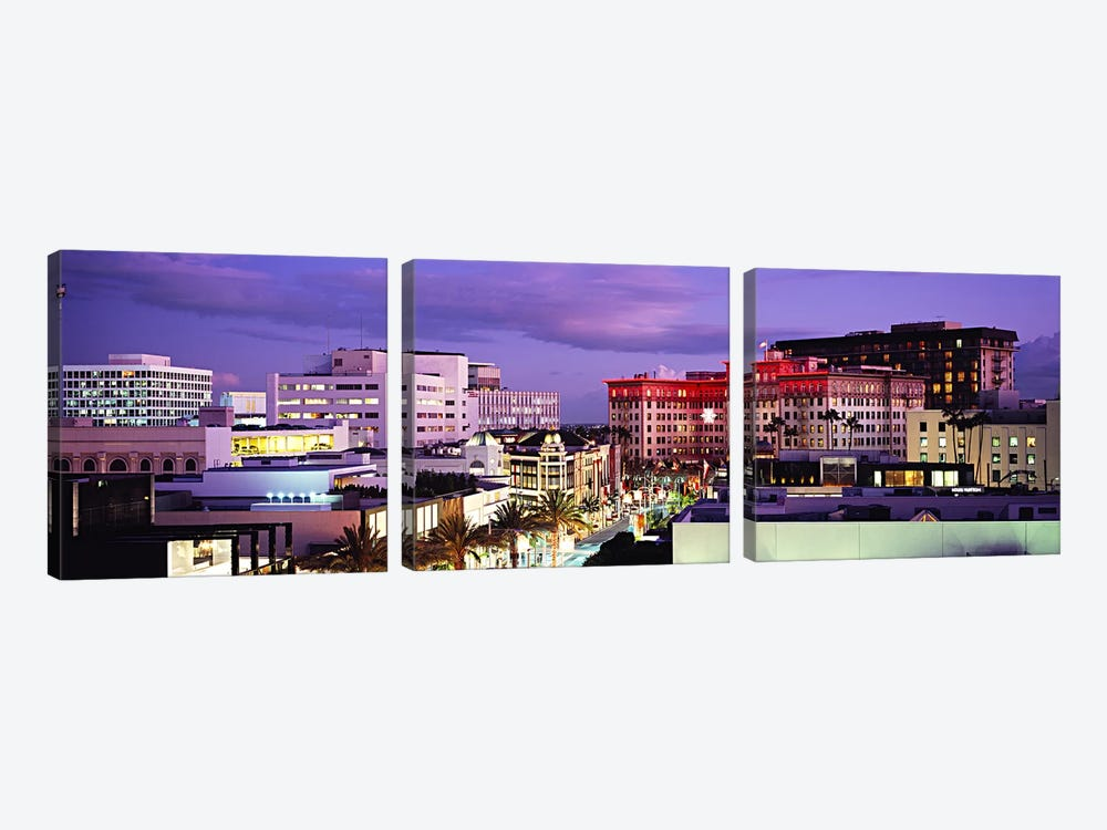 Evening View, Rodeo Drive, Beverly Hills, California, USA by Panoramic Images 3-piece Canvas Wall Art