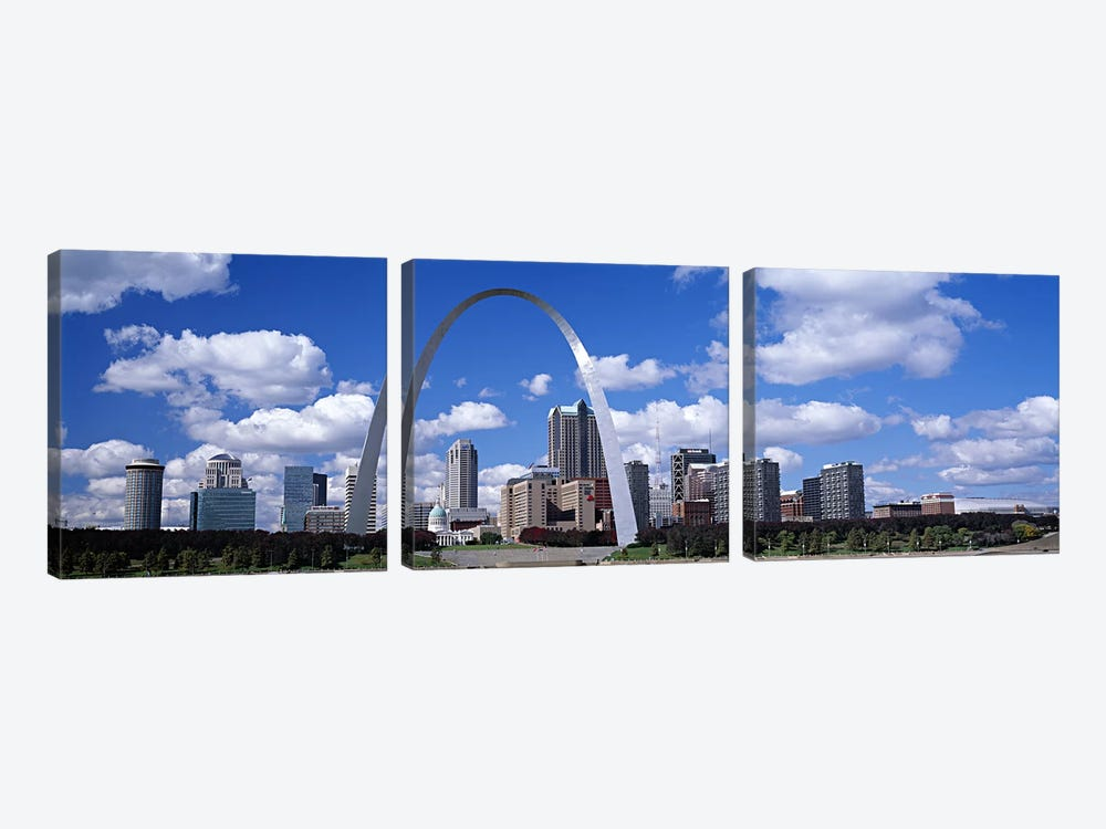 Gateway Arch & Downtown Skyline, St. Louis, Missouri, USA by Panoramic Images 3-piece Canvas Wall Art