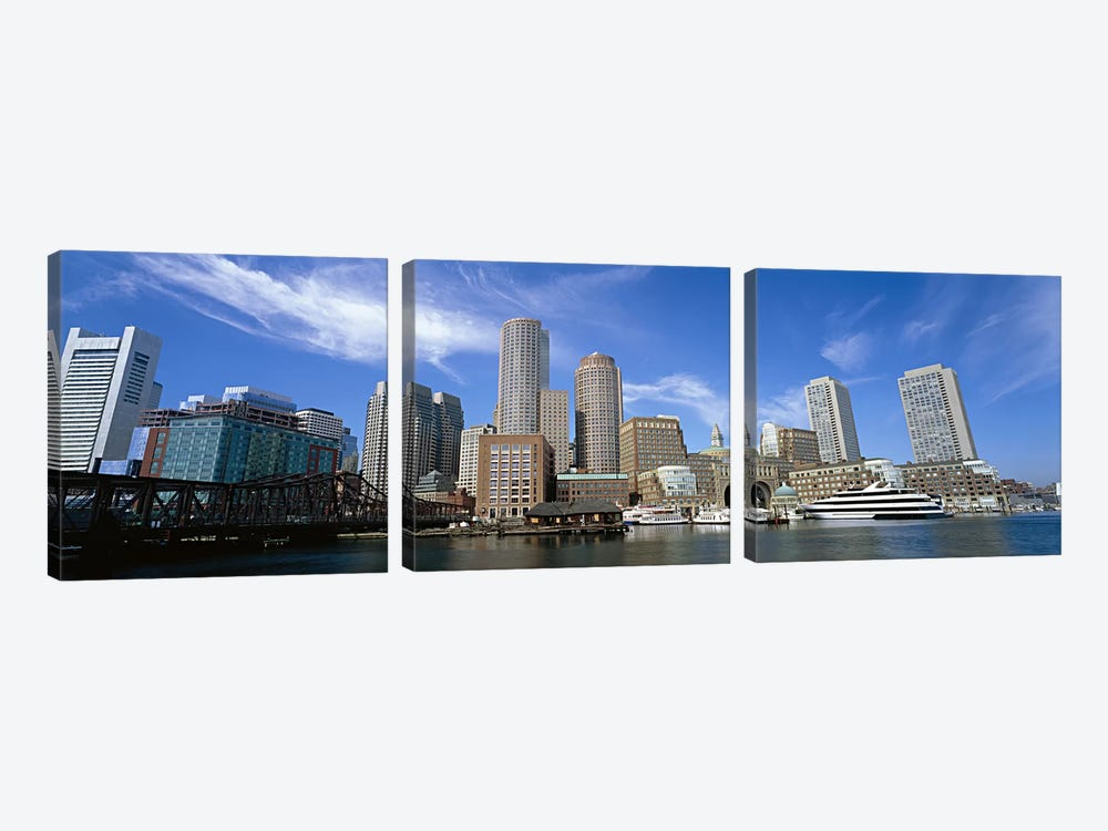 Skyscrapers at the waterfront, Boston, Massachusetts, USA by Panoramic Images 3-piece Canvas Print
