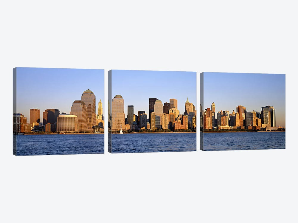 Buildings at the waterfront, Manhattan, New York City, New York State, USA by Panoramic Images 3-piece Canvas Wall Art