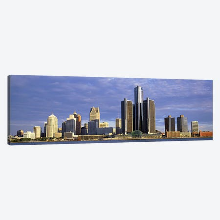 Skyscrapers at the waterfront, Detroit, Michigan, USA #2 3-Piece Canvas #PIM6015} by Panoramic Images Canvas Wall Art